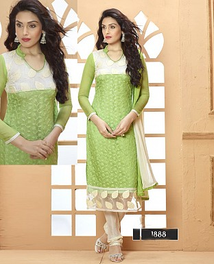 NEW DESIGNER GREEN AND CREAM STRAIGHT SUIT @ Rs1606.00