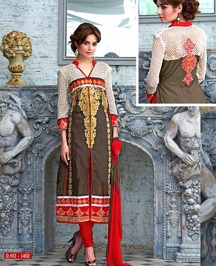 LATEST DESIGNER BROWN STRAIGHT SUIT @ Rs1359.00