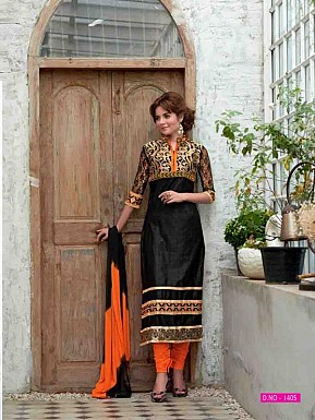 LATEST DESIGNER BLACK STRAIGHT SUIT @ Rs1359.00