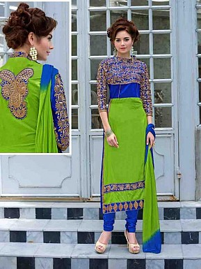 LATEST DESIGNER GREEN AND BLUE STRAIGHT SUIT @ Rs1359.00