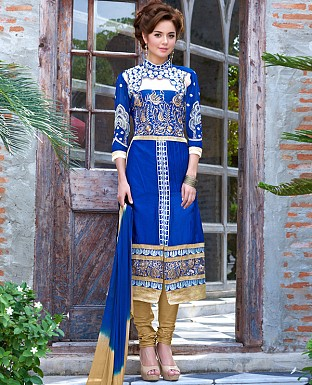 DESIGNER BLUE STRAIGHT SUIT @ Rs1915.00