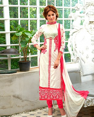 LATEST DESIGNER OFF WHITE STRAIGHT SUIT @ Rs1359.00