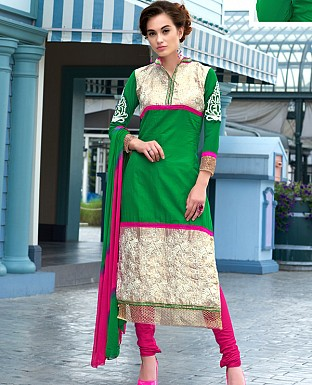 DESIGNER GREEN STRAIGHT SUIT @ Rs1359.00
