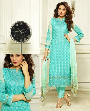 DESIGNER SKY STRAIGHT SUIT @ Rs1915.00