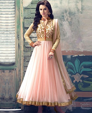 ATTRACTIVE CREAM NET ANARKALI SUIT @ Rs1421.00