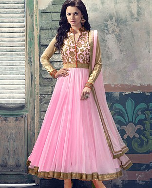 ATTRACTIVE PINK NET ANARKALI SUIT @ Rs1050.00