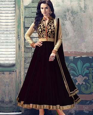 ATTRACTIVE BLACK NET ANARKALI SUIT @ Rs1050.00