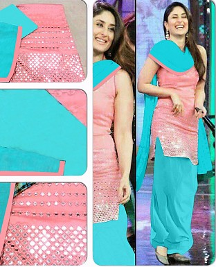 DESIGNER PINK AND SKY SALWAR SUIT @ Rs1112.00