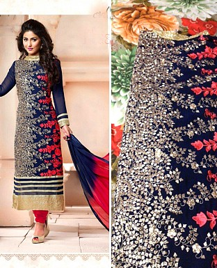 DESIGNER NAVY BLUE AND RED SALWAR SUIT @ Rs988.00