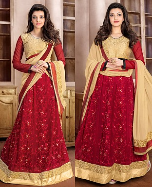 DESIGNER MAROON AND CREAM ANARKALI SUIT @ Rs1915.00