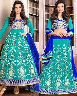 DESIGNER SKY AND BLUE ANARKALI SUIT @ Rs1915.00