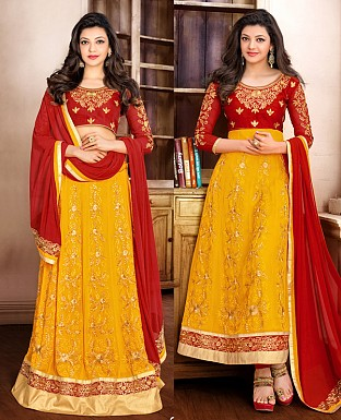 DESIGNER MAROON AND YELLOW ANARKALI SUIT @ Rs1915.00