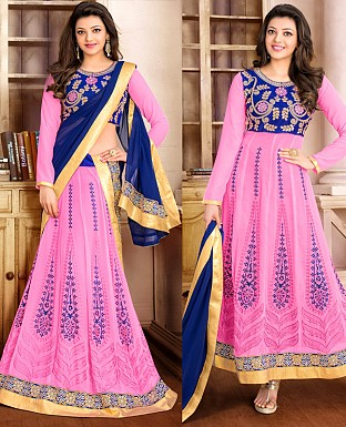DESIGNER PINK AND BLUE ANARKALI SUIT @ Rs1915.00