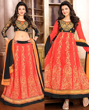 DESIGNER BLACK AND ORANGE ANARKALI SUIT @ Rs1915.00