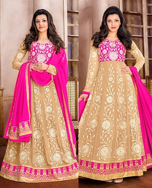 DESIGNER PINK AND CREAM ANARKALI SUIT @ Rs1915.00