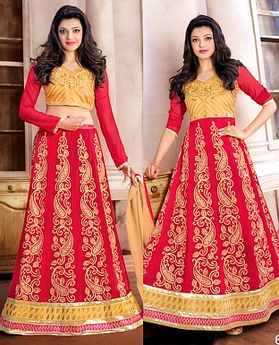 DESIGNER RED AND CREAM ANARKALI SUIT @ Rs1915.00