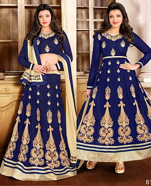 DESIGNER NAVY BLUE AND CREAM ANARKALI SUIT @ Rs1915.00