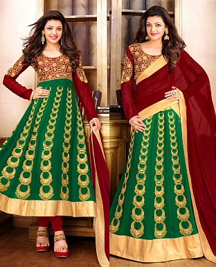MAROON AND GREEN ANARKALI SUIT @ Rs1915.00
