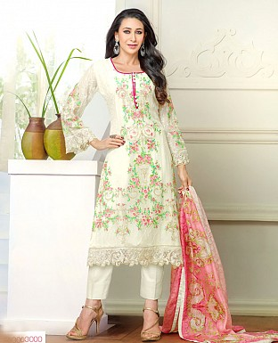 DESIGNER OFF WHITE STRAIGHT PLAZO SUIT @ Rs1915.00