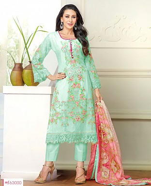 DESIGNER GREEN STRAIGHT PLAZO SUIT @ Rs1915.00
