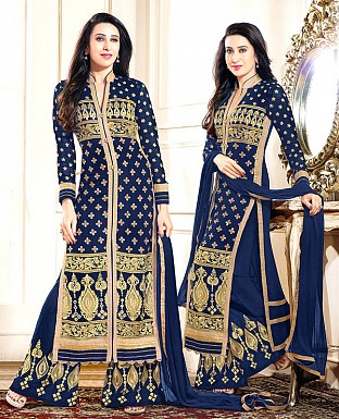 DESIGNER NAVY BLUE STRAIGHT PLAZO SUIT @ Rs1853.00