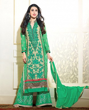 DESIGNER GREEN STRAIGHT PLAZO SUIT @ Rs1730.00