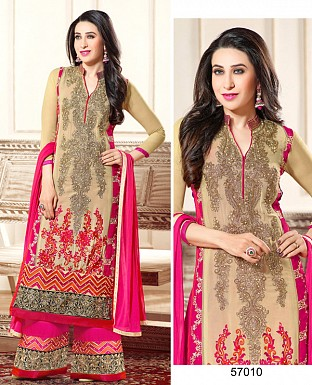 DESIGNER CREAM AND PINK STRAIGHT PLAZO SUIT @ Rs1730.00