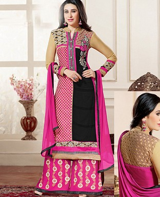 DESIGNER BLACK AND PINK STRAIGHT PLAZO SUIT @ Rs1730.00