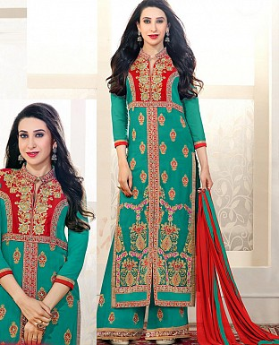 DESIGNER AQUA AND RED STRAIGHT PLAZO SUIT @ Rs1730.00