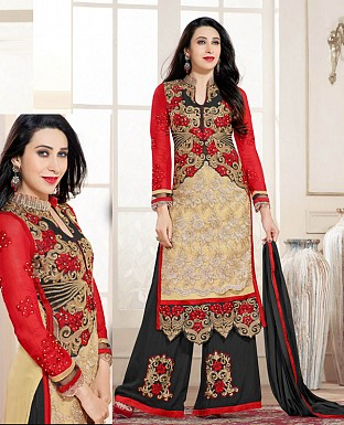 DESIGNER CREAM AND BLACK STRAIGHT PLAZO SUIT @ Rs1730.00