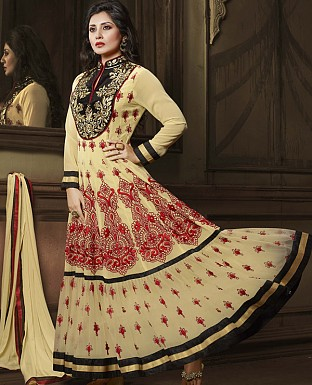 DESIGNER BEIGE ANARKALI SUIT @ Rs2286.00