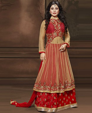 DESIGNER RED ANARKALI SUIT @ Rs2286.00