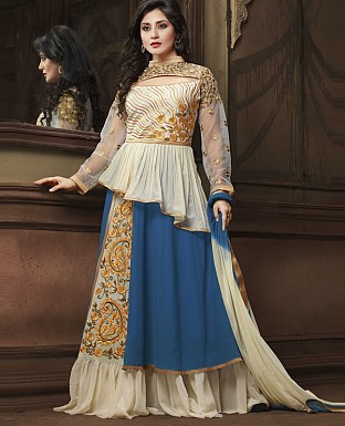 DESIGNER WHITE AND NAVY ANARKALI SUIT @ Rs2224.00
