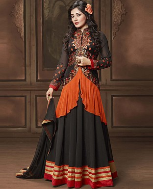 DESIGNER BLACK ANARKALI SUIT @ Rs2100.00