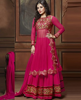 DESIGNER DEEP PINK ANARKALI SUIT @ Rs2409.00