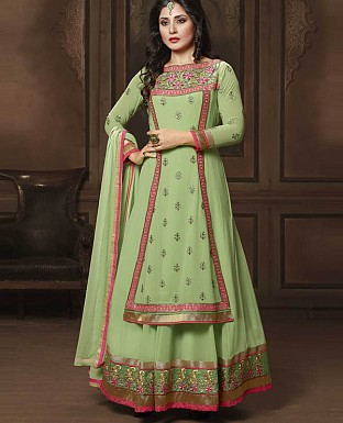 DESIGNER LIME GREEN ANARKALI SUIT @ Rs2286.00
