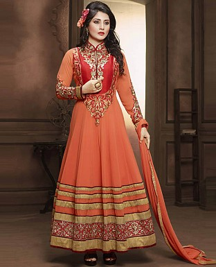DESIGNER ORANGE ANARKALI SUIT @ Rs2224.00