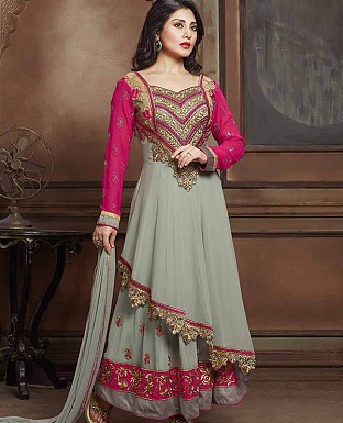 DESIGNER GREY & PINK ANARKALI SUIT @ Rs2286.00