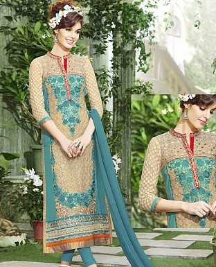 THANKAR NEW DESIGNER AQUA & BEIGE STRAIGHT SUIT @ Rs1915.00
