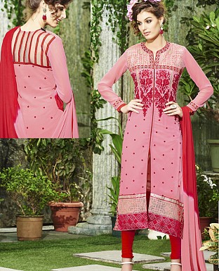 DESIGNER PINK & RED STRAIGHT SUIT @ Rs1915.00