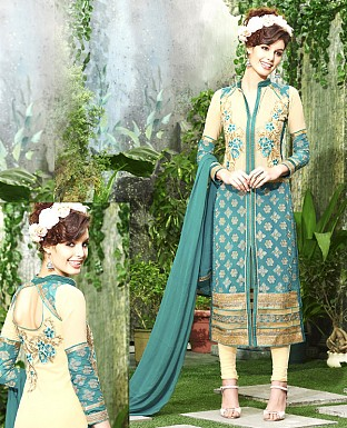 DESIGNER AQUA & CREAM STRAIGHT SUIT @ Rs1915.00