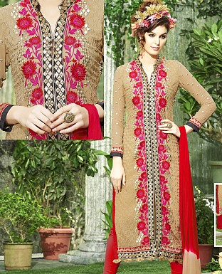 DESIGNER RED & BEIGE STRAIGHT SUIT @ Rs1915.00
