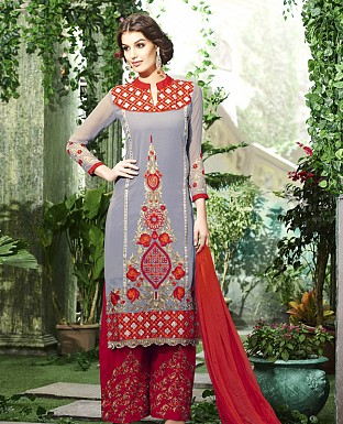DESIGNER BROWN & RED STRAIGHT SUIT @ Rs1915.00