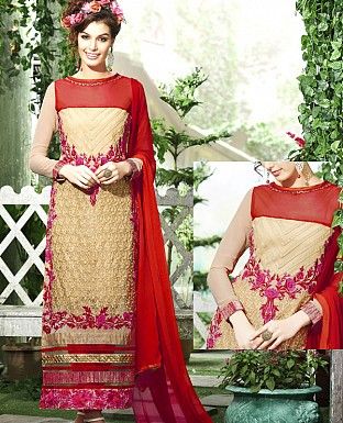 DESIGNER CREAM & RED STRAIGHT SUIT @ Rs1915.00