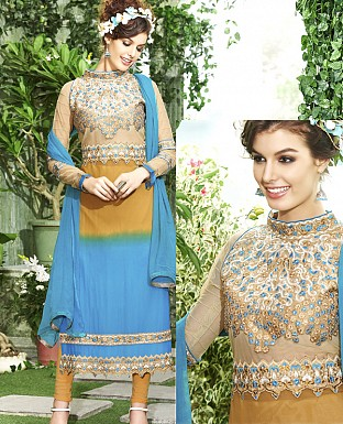 DESIGNER YELLOW & SKY STRAIGHT SUIT @ Rs1915.00