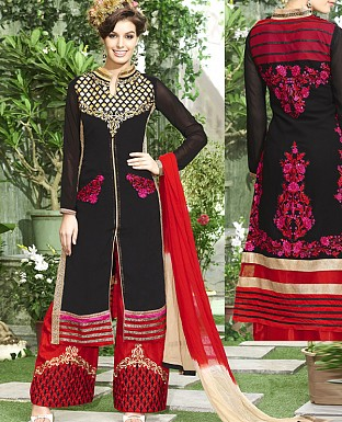 THANKAR NEW DESIGNER BLACK & RED STRAIGHT SUIT @ Rs1915.00