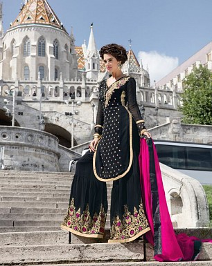 LATEST BLACK DESIGNER LONG SLEEVE PLAZO SUIT @ Rs2100.00