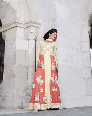 LATEST CREAM DESIGNER LONG SLEEVE ANARKALI SUIT @ Rs2100.00