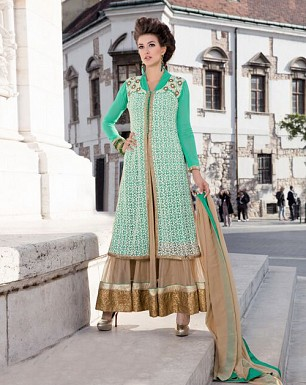 LATEST AQUA AND CREAM DESIGNER ANARKALI SUIT @ Rs2100.00