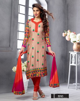 NEW ARRIVAL DARK BEIGE STRAIGHT SUIT @ Rs1606.00